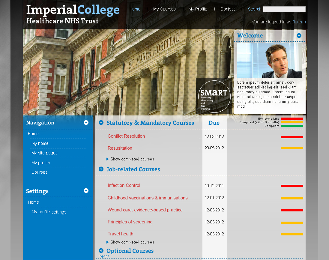 Imperial College NHS Trust Moodle Frontpage